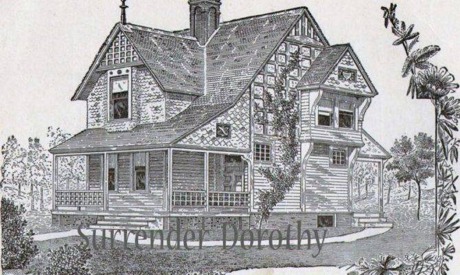 Small Country Cottage Plans Antique Victorian Print
