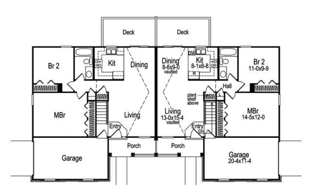 Small Duplex House Plans Garage