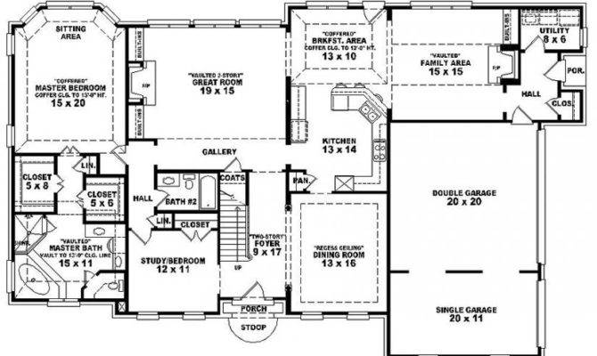 Two Story Bedroom Bath French Traditional Style House Plan
