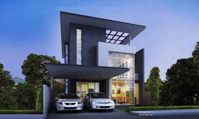 Two Story House Plans Modern Perspective Stories Floor Area