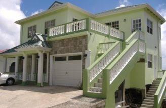 Ver Foto Modelo Casa Dos Pisos Verde Con Cochera Garaje