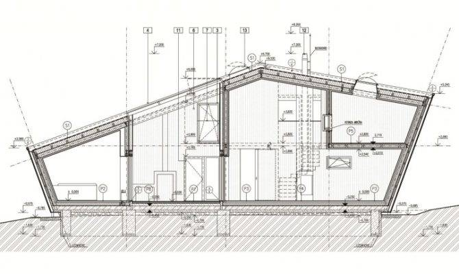 Weekend House Serene Environment Brilliant Section Design Plan