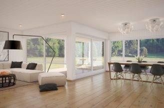 White Gray Open Plan Living Area Interior Design Ideas