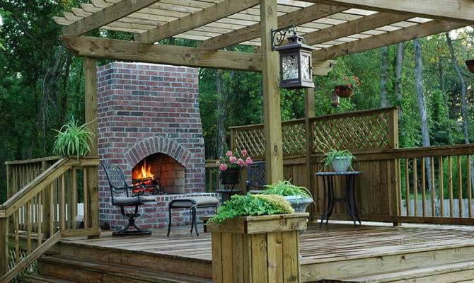 Wood Deck Designs Fireplace Cool Decks