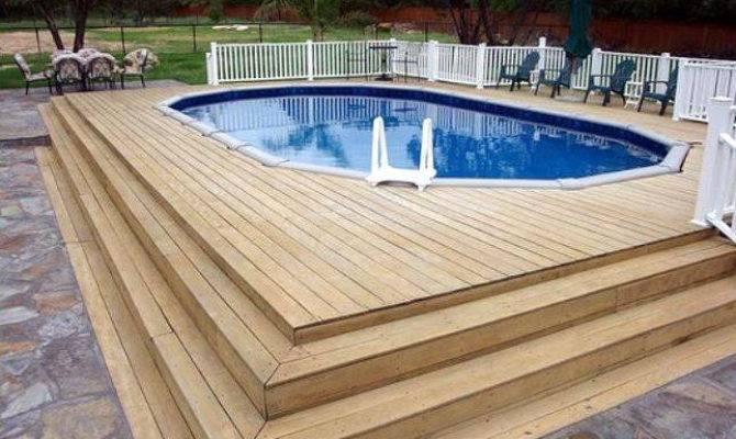 Above Ground Pool Deck Ideas Wood Design