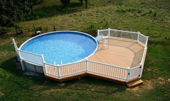 Above Ground Pool Deck Ideas Wood Relaxation Area