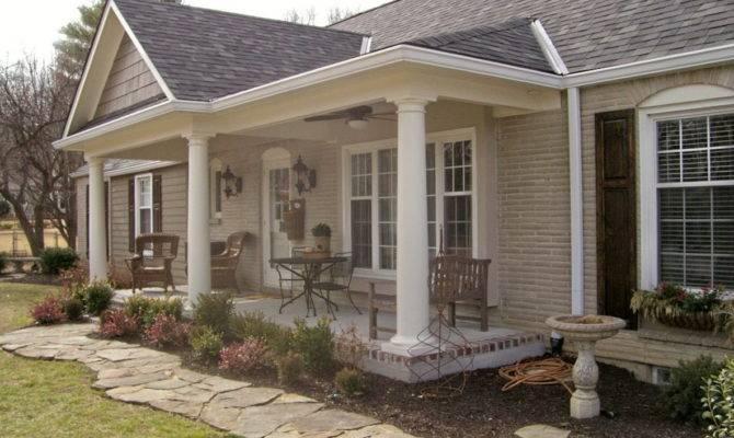 Adding Front Porch Ranch House Home Design Ideas