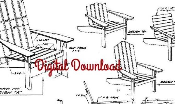 Adirondack Chair Blueprint Vintage Woodworking Plans Patio