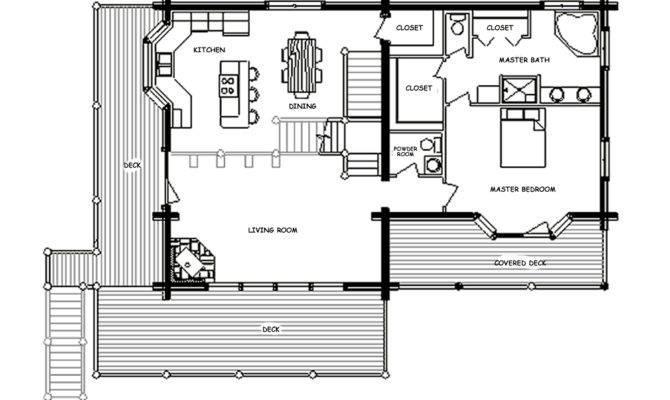 Alpine Chalet Log Home Floor Plan Main