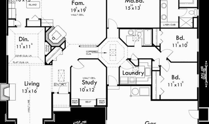 Amazing One Story House Plans Car Garage
