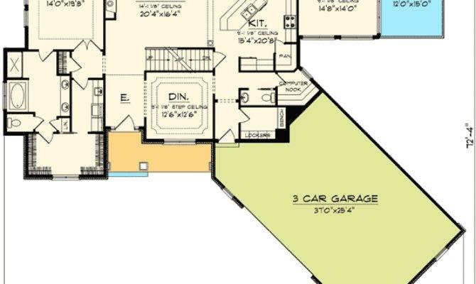 Angled Garage Home Plan Floor Master Suite