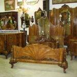 Antique Country French Burl Walnut Six Piece Bedroom Set Fits Queen