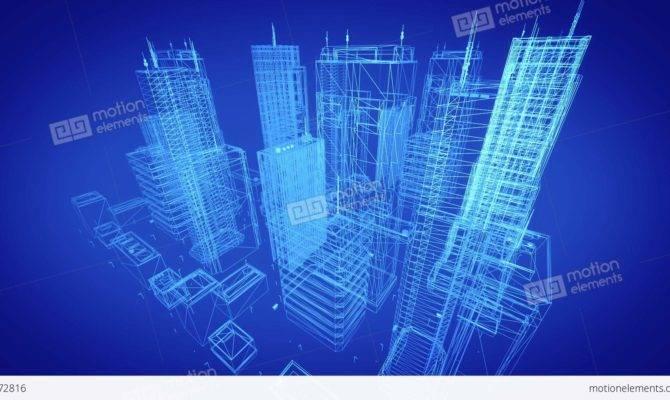 Architectural Blueprint Contemporary Buildings Blue