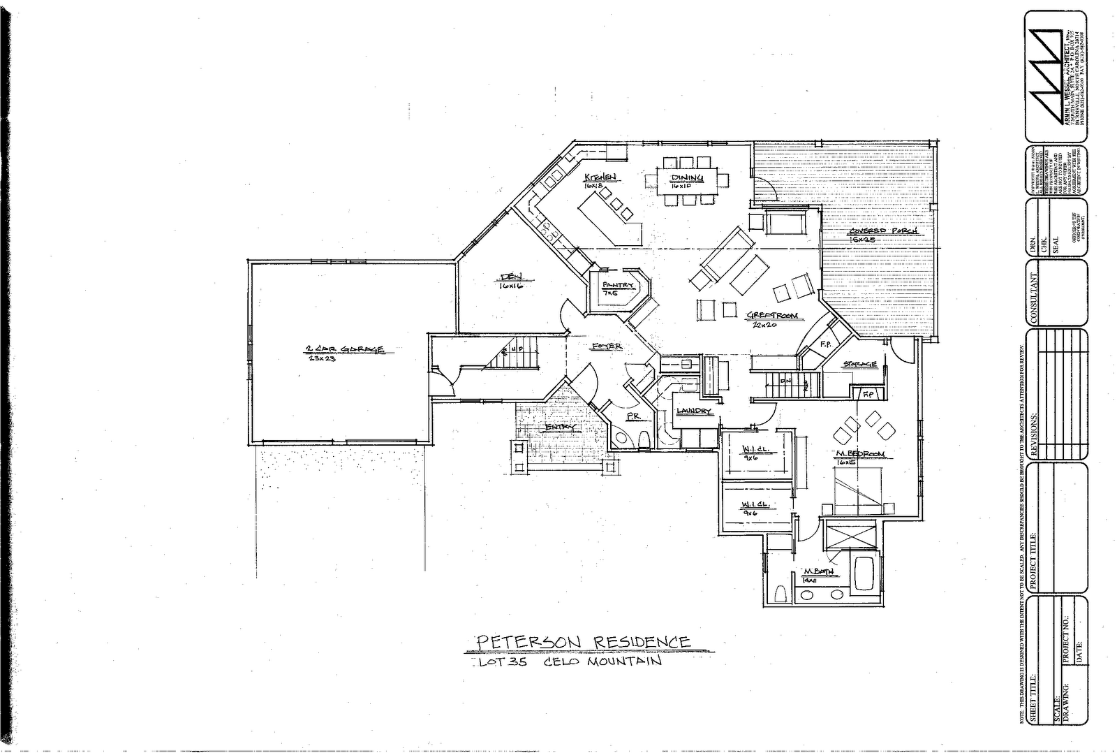 Architectural Design Plans Main Floor Cove Celo Mountain Home