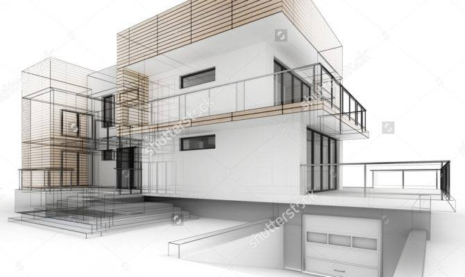Architectural Drawing House Autocad Vector