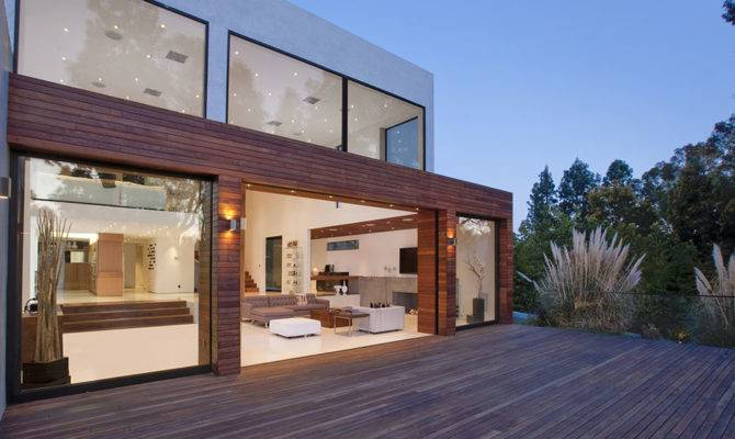 Architecture Modern Beverly Hills House Wood Glass Stone