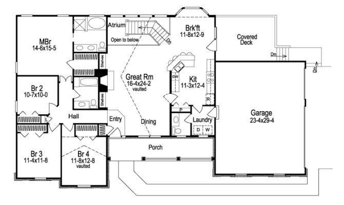 Ashbriar Atrium Ranch Home Plan House Plans