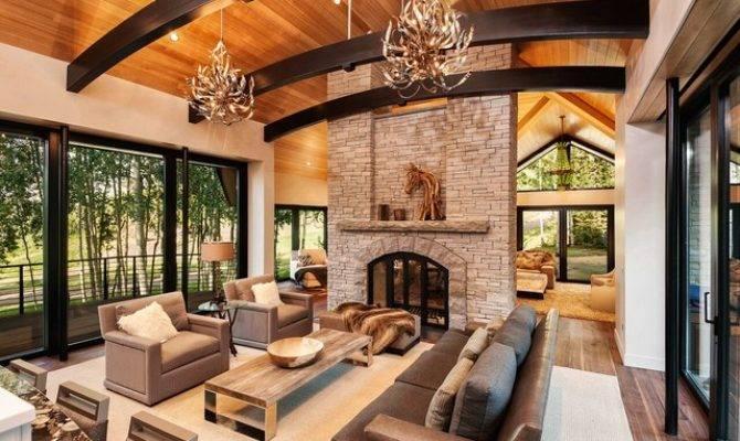 Aspen Modern Mountain Great Room Stone Fireplace
