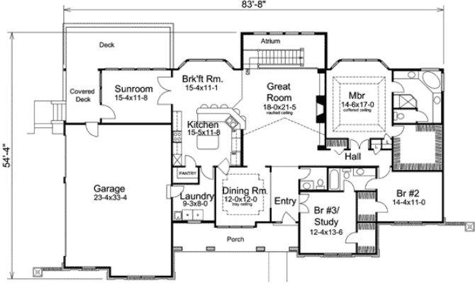 Atrium Ranch Home Plan Sunroom Floor