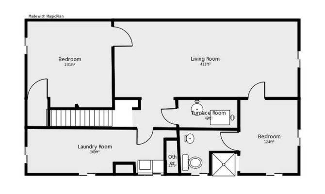 Basement Floor Plan Flip Flop Stairs Furnace Room