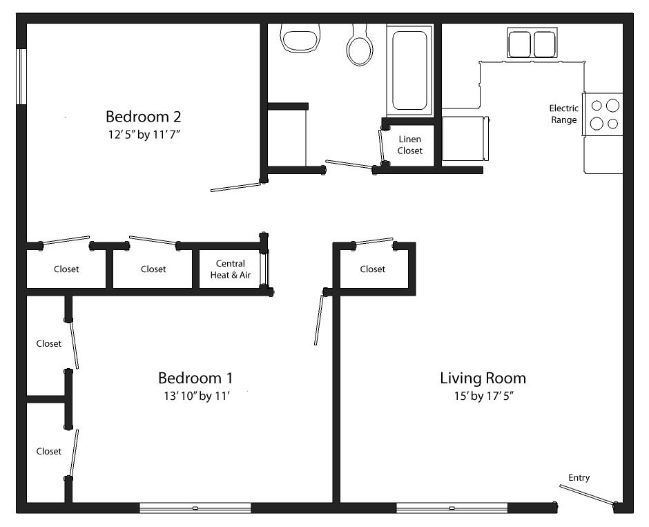 Bathroom Floor Plans Two Bedroom One