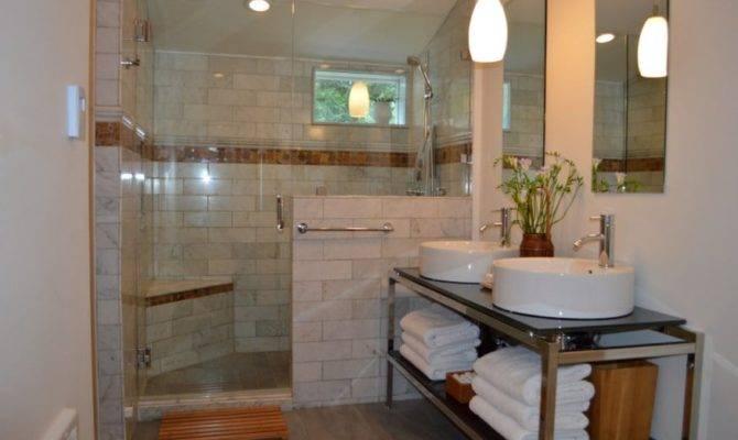 Bathroom Marble Tiled Walk Shower Heated Tile Floors Double