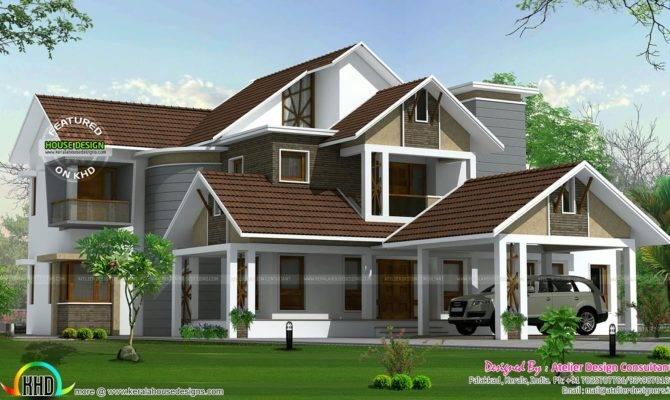 Beautiful Slope Roof Home Kerala Design Floor Plans
