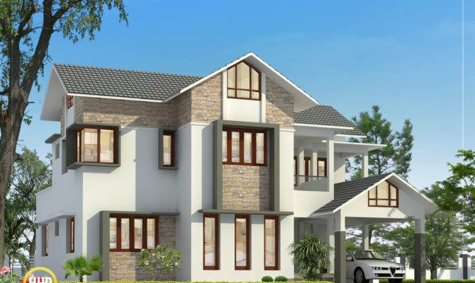 Beautiful Sloping Roof Home Design Indian Decor