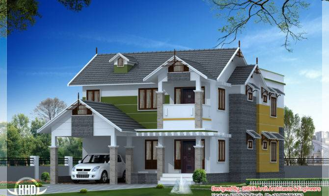 Beautiful Sloping Roof House Design Kerala Home Floor