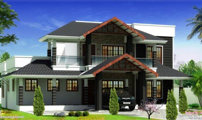 Beautiful Sloping Roof Villa Elevation Design Kerala