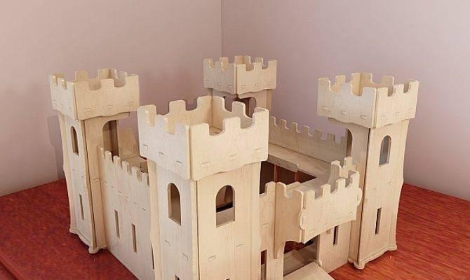 Beautiful Wooden Castle Toy Plans Pattern Vector Model