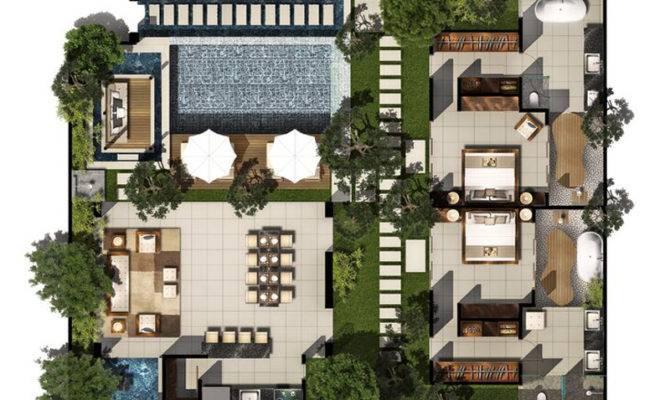 Bed Pool Villa Floor Plan Chandra Bali Villas
