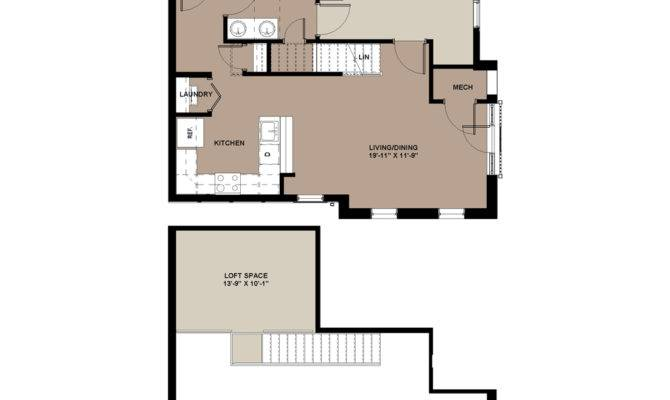 Bedroom Apartment Floor Plans Lofts Worthington