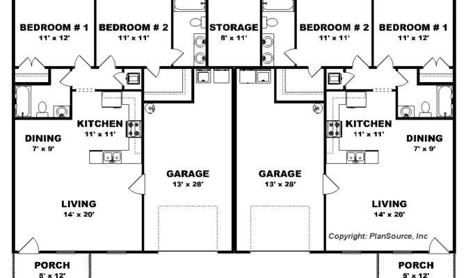 Bedroom Duplex Plan Garage Per Unit Open Floor Plans