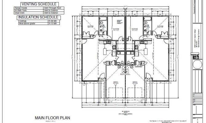 Bedroom Duplex Plans Blueprints Construction Documents