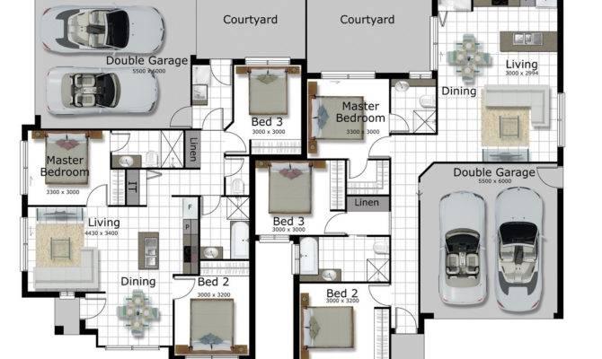 Bedroom Duplex Plans Plan House Corner Lothousehome