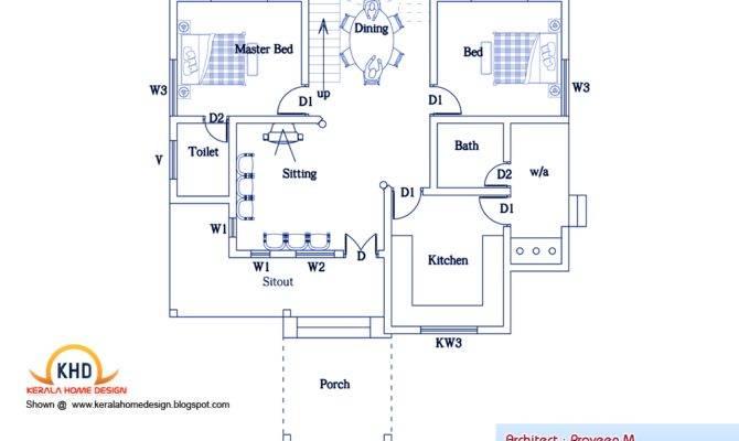 Bedroom Home Plan Elevation Kerala Design Floor Plans