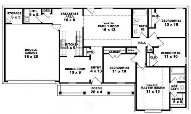 Bedroom House One Story Open Floor Plan Home Deco Plans