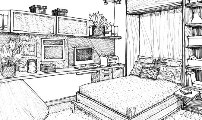Bedroom Interior Design Drawing Drawings Pinterest