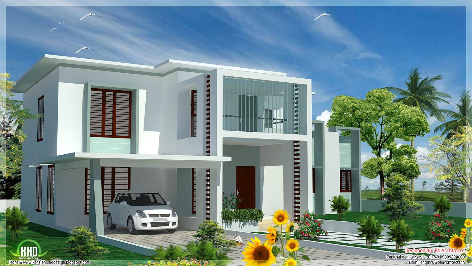 Bedroom Modern Flat Roof House Kerala Home Design Floor Plans Home Plans Blueprints 7685