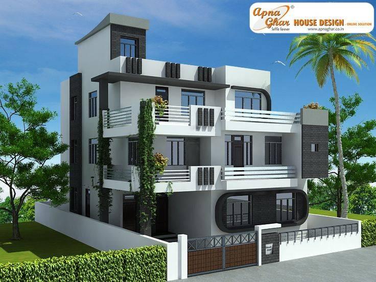 Bedroom Modern Triplex Floor House Design Area Home Plans Blueprints 139649