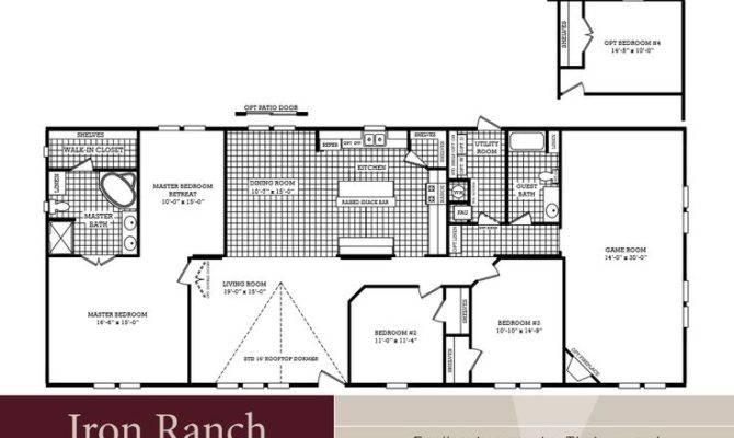 Bedroom Ranch Floor Plans Large Bath Double Wide