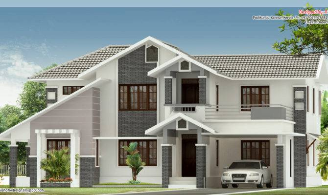 Bedroom Sloped Roof House Elevation Design Plans