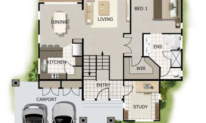 Bedroom Study Sloping Land House Kit Home Design
