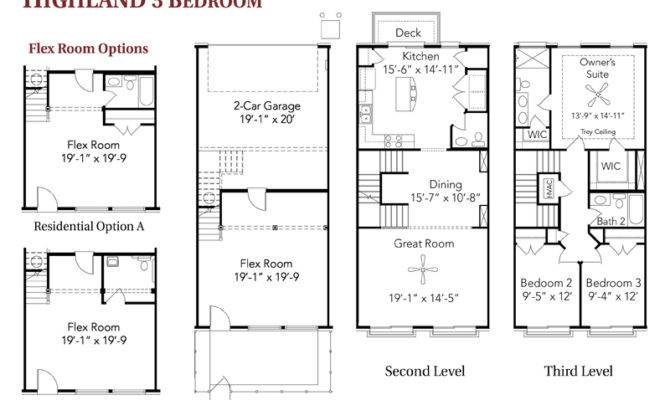 Bedroom Townhouse Floor Plans Garage Highland Live