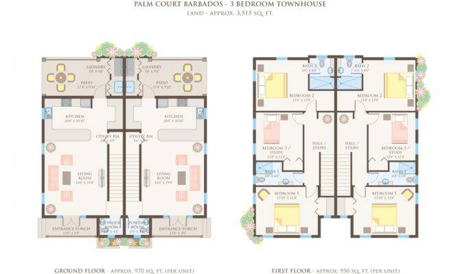 Bedroom Townhouse Floor Plans Garage