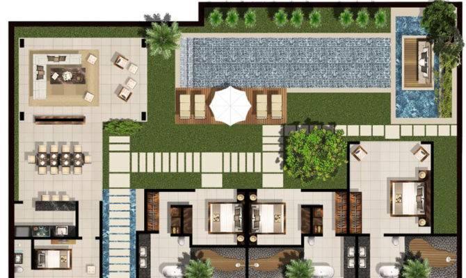 Bedroom Villa Floor Plan Chandra Bali Villas