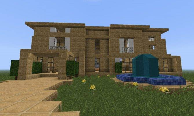 Bee Builds Sandstone Modern House Minecraft Project