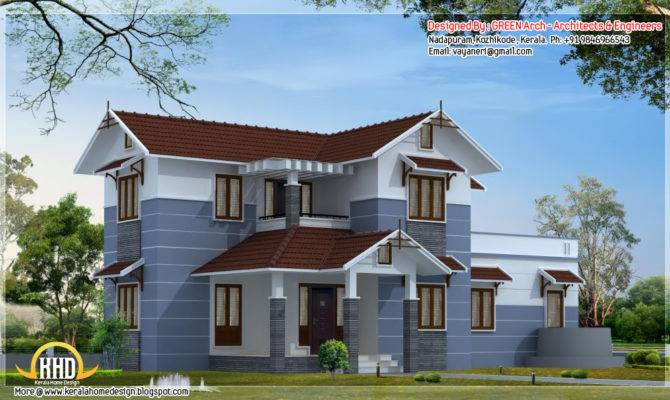 Bhk Sloping Roof Home Design Architecture House