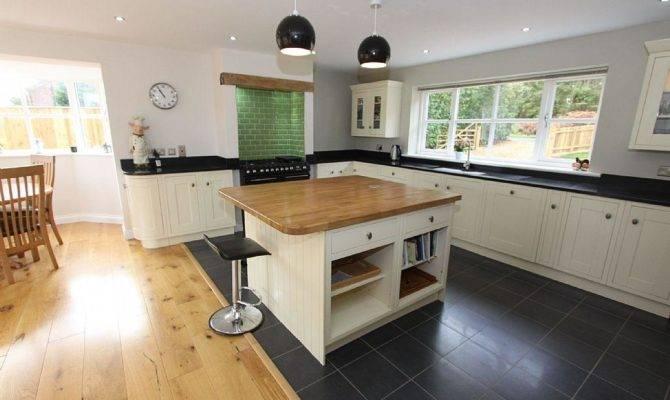 Black Kitchen Island Traditional Open Plan